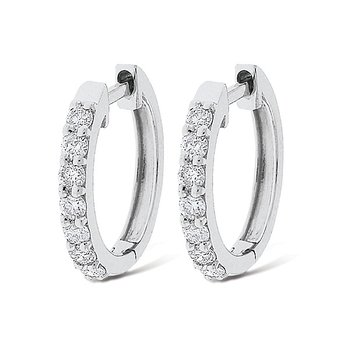 Diamond Mini Hoop Earrings in 14k White Gold with 14 Diamonds weighing .25ct tw.