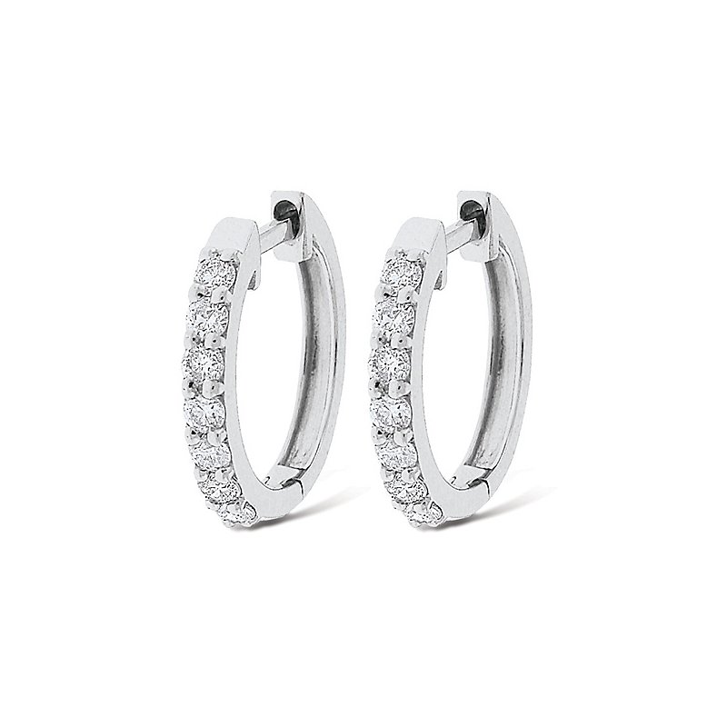 KC Designs Diamond Mini Hoop Earrings in 14k White Gold with 14 Diamonds weighing .25ct tw.