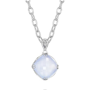 Cushion Cut Gem Pendant featuring Chalcedony