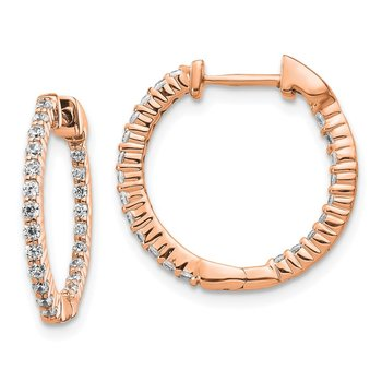 14k Rose Gold Polished Diamond In/Out Hinged Hoop Earrings