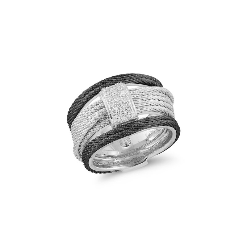 ALOR Black & Grey Cable Simple Stack Ring with 18kt White Gold & Diamonds