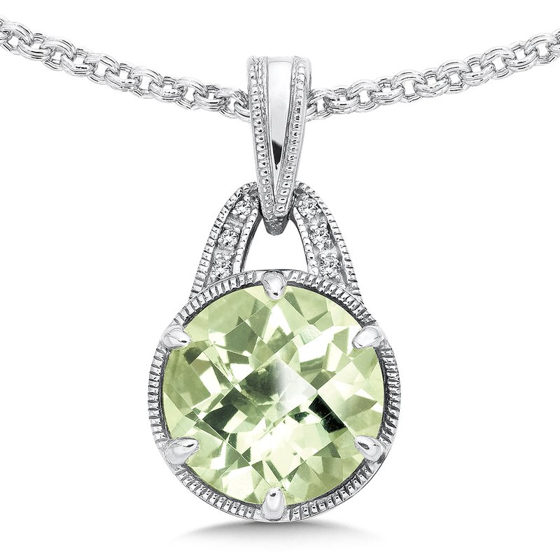 Sterling Silver Green Amethyst White Diamond Pendant