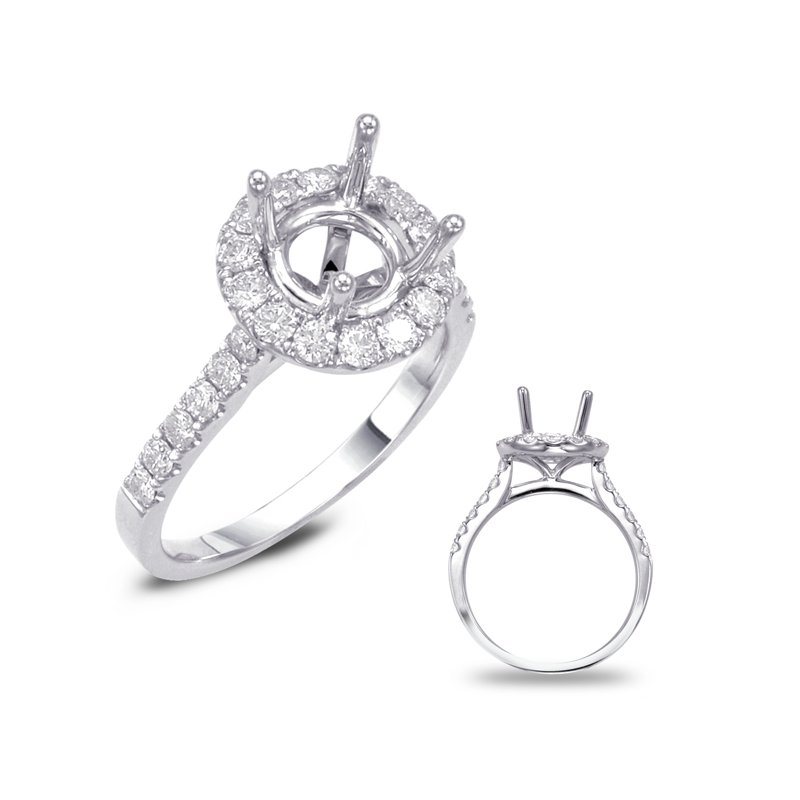 S. Kashi  & Sons Platinum Halo Engagement Ring