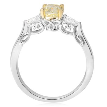 Three Stone Fancy Yellow Diamond Ring