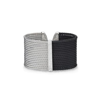 Black & Grey Cable Colorblock Cuff with 18kt White Gold & Diamonds