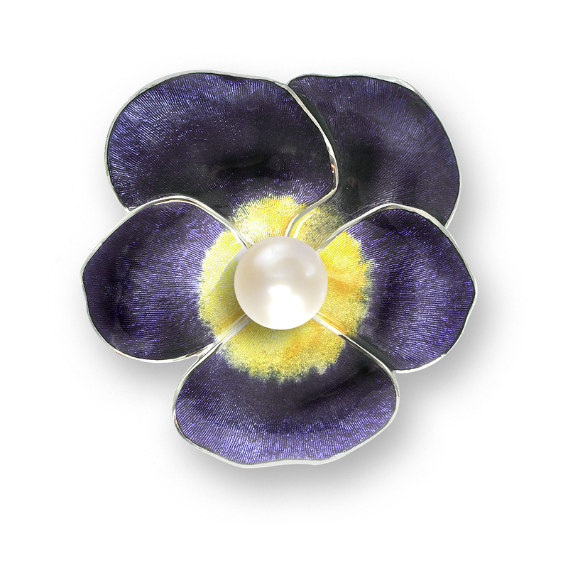 Nicole Barr Designs Sterling Silver Pansy Brooch-Purple. Pearl