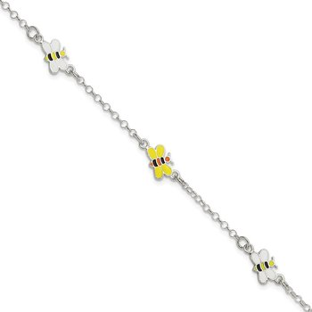 Sterling Silver Polished Children's Enameled 5in Plus 1in ext. Bee Bracelet