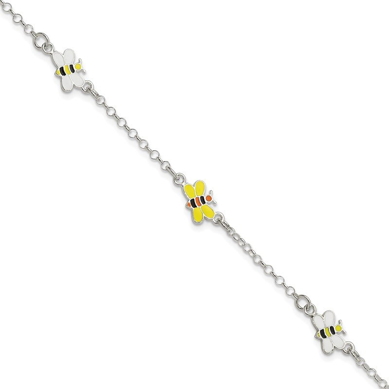 Quality Gold Sterling Silver Polished Children's Enameled 5in Plus 1in ext. Bee Bracelet