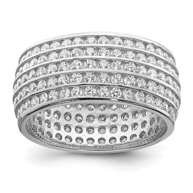 Quality Gold Sterling Silver Rhodium-plated 5-row Eternity Ring