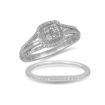 10K WG and diamond cluster halo Petite engagement ring in Micro Prong setting
