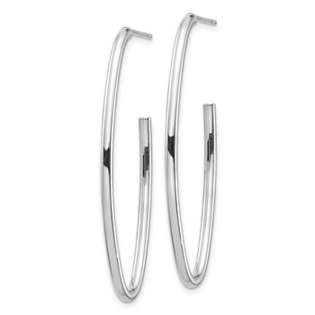 14k White Gold Polished Pointed Oval Post Dangle Earrings