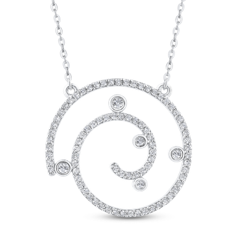 Round Cut Diamond Swirl Fashion Pendant