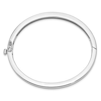 14k White Gold 5.3mm Polished Solid Hinged Bangle Bracelet