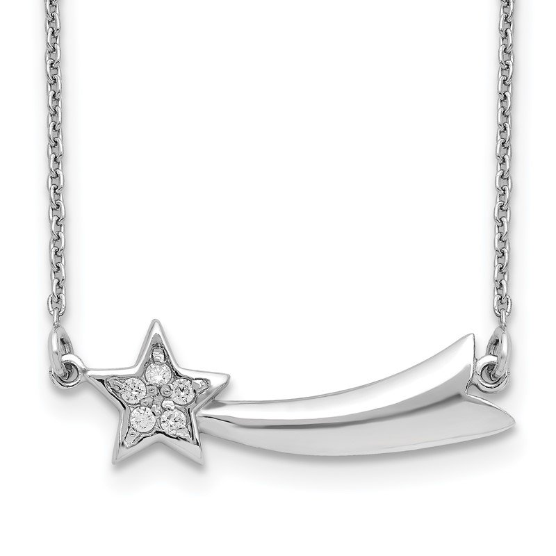 Quality Gold Sterling Silver Rhodium-plated CZ Shooting Star w/2in ext. Necklace
