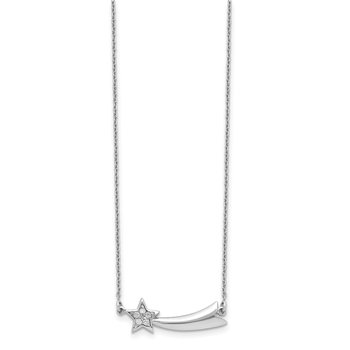 Sterling Silver Rhodium-plated CZ Shooting Star w/2in ext. Necklace