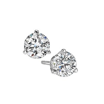 Martini Diamond Stud Earrings in 14K White Gold (3/8 ct. tw.) I1 - G/H