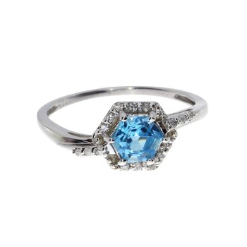 14k White Gold Hexagonal Blue Topaz  and Diamond Ring