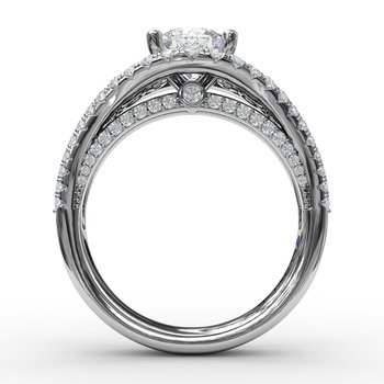 Graduated Diamond Encrusted Engagement Ring