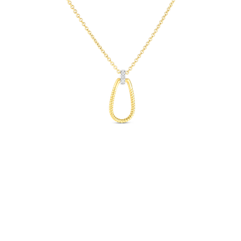 18Kt Gold Small Twisted Stirrup With Diamond Bale Pendant