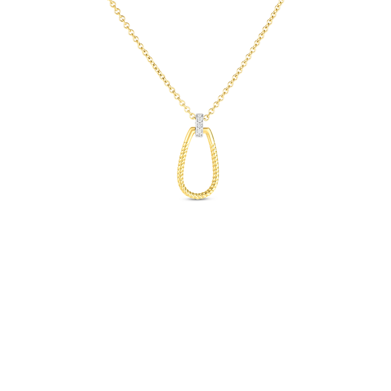 Roberto Coin 18Kt Gold Small Twisted Stirrup With Diamond Bale Pendant