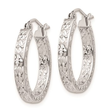 Sterling Silver Rhodium Plated Diamond Cut 3x20mm Hoop Earrings