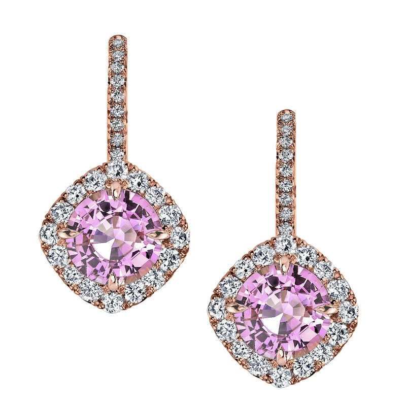 Omi Prive Pink Sapphire & Diamond Earrings