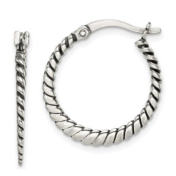 Sterling Silver Antiqued Twisted Hoop Earrings