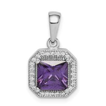 Sterling Silver Rhodium Plated Clear CZ and Square Purple CZ Pendant