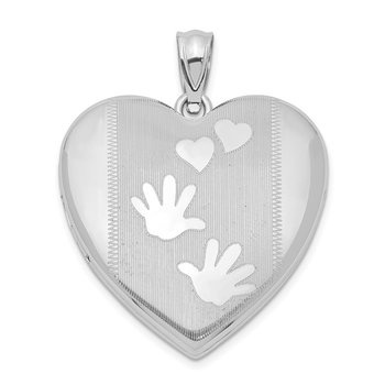 Sterling Silver Rhodium-plated Handprints Heart Locket