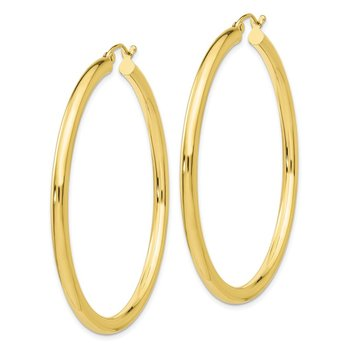 10K Polished 3mm Tube Hoop Earrings