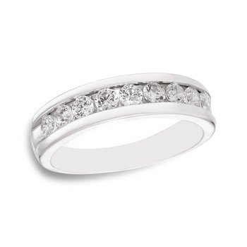 White gold & channel-set diamond men's band
