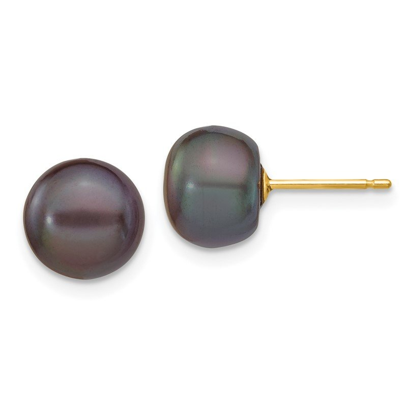 Quality Gold 14k 8-9mm Black Button FW Cultured Pearl Stud Post Earrings