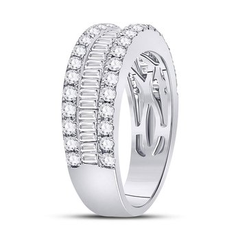 14kt White Gold Womens Round Baguette Diamond Triple Row Band Ring 1-1/2 Cttw