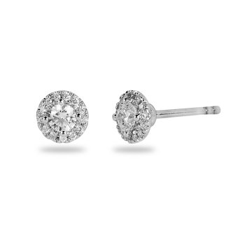 14K WG Diamond Halo Design Stud ER with 3.0 mm Center