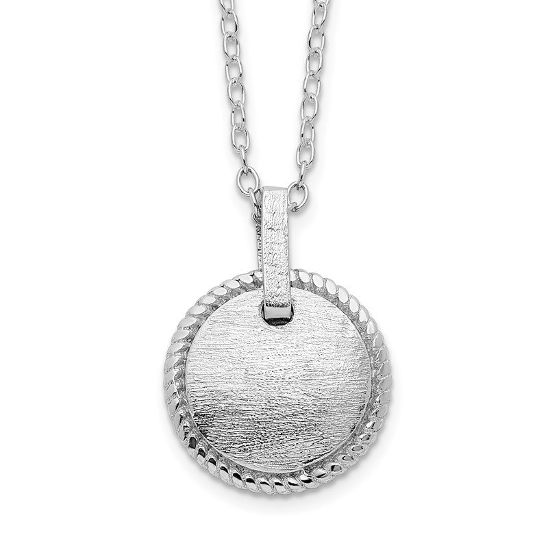 Quality Gold Sterling Silver Rhodium-plated Matte Puffed Circle w/2in ext. Necklace