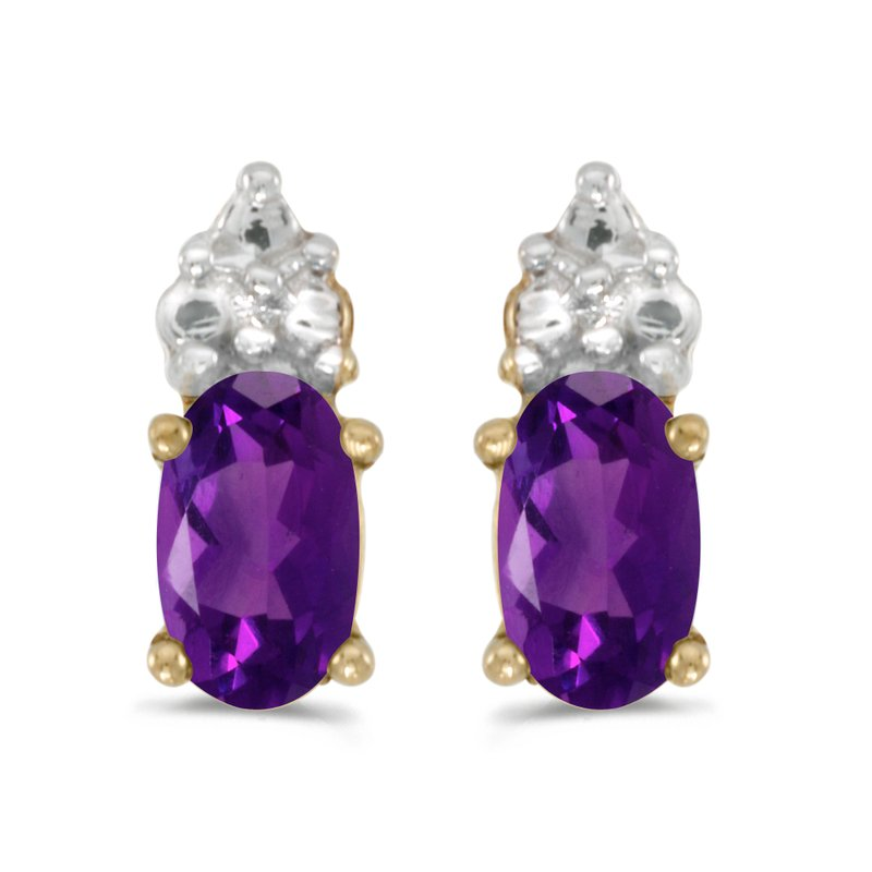 Color Merchants 10k Yellow Gold Oval Amethyst Earrings