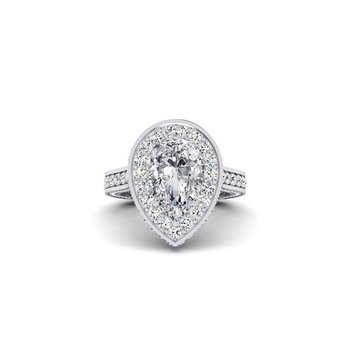 OMG Series Milgrain Design Pear Shaped Diamond Engagement Ring