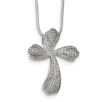 Sterling Silver & CZ Brilliant Embers Polished Cross Necklace