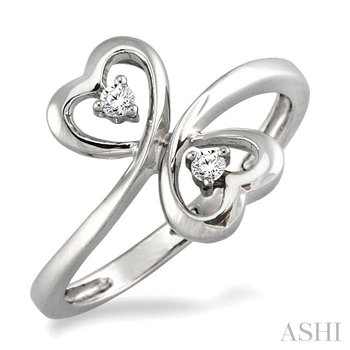 SILVER 2STONE HEART SHAPE DIAMOND RING