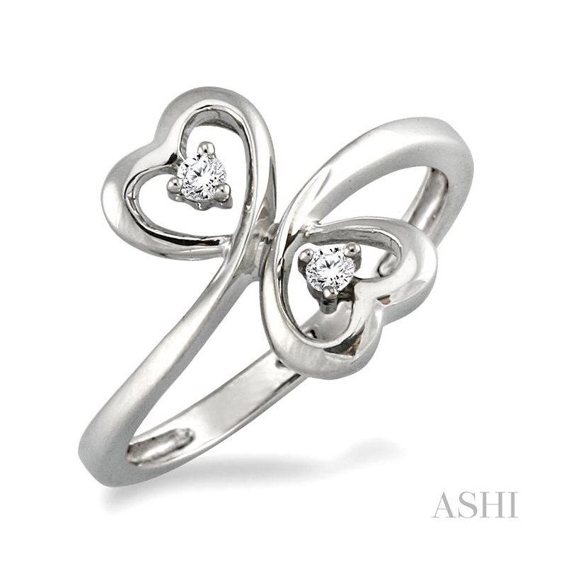 ASHI silver 2stone heart shape diamond ring