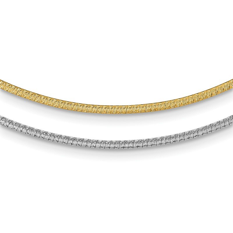 Quality Gold 14k Two-Tone 2mm w/ 2in ext. Reversible Omega Necklace
