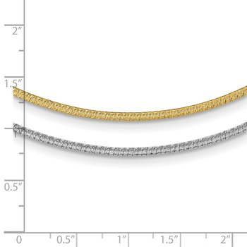 14k Two-Tone 2mm w/ 2in ext. Reversible Omega Necklace
