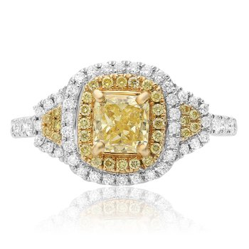 Cushion Cut Yellow Diamond Double Halo Ring