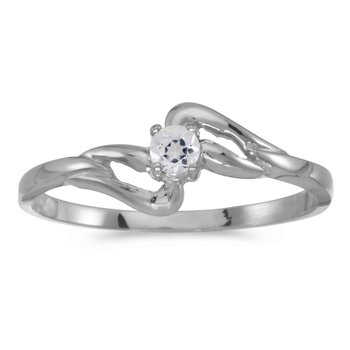 14k White Gold Round White Topaz Ring