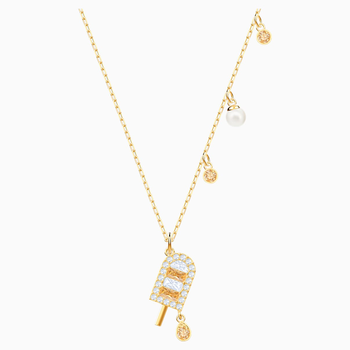 No Regrets Ice Cream Pendant, Multi-colored, Gold-tone plated