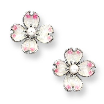 White Dogwood Stud Earrings.Sterling Silver-Akoya Pearls