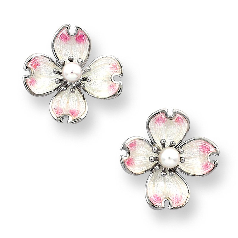 Nicole Barr Designs White Dogwood Stud Earrings.Sterling Silver-Akoya Pearls