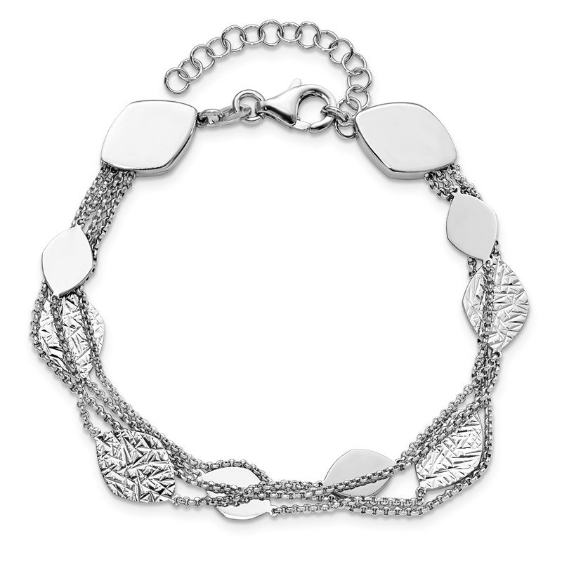 Leslie's Leslie's Sterling Silver Polished D/C 4-strand with 1.5in ext. Bracelet