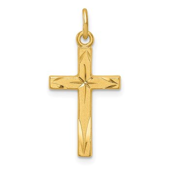Sterling Silver Gold Tone Diamond-Cut Cross Pendant