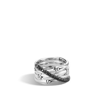 Bamboo 14MM Band Ring in Silver with Gemstone